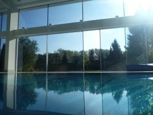 Indoor pool with hidden overflow